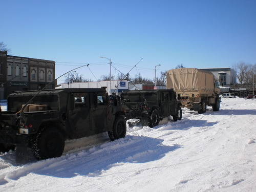 Guard vehicles prepared to assist residents