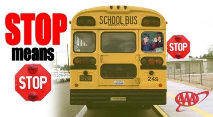 Stop Means Stop logo with school bus